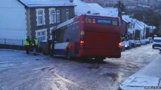 Bus skidded on ice in Wattstown, Rhondda