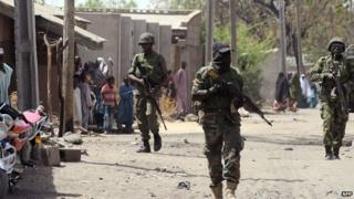 Nigerian soldiers on patrol in Borno state (archive)