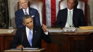 Vice President Joe Biden and House Speaker John Boehner of Ohio listens as President Barack Obama gives his State of the Union address on Capitol Hill in Washington 28 January 2014