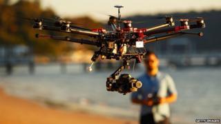 Drone operator at Palm Beach, Sydney