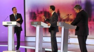 David Cameron, Nick Clegg and Gordon Brown participating in the final of three live televised debates in 2010