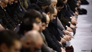 Muslims gather in the Grande Mosquee in Strasbourg