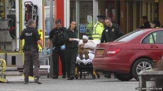 Victim on stretcher