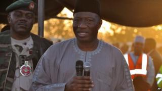 "Nigeria""s President Goodluck Jonathan, speak to troops during a visit to Maiduguri, Nigeria, Thursday, Jan. 15, 2015"