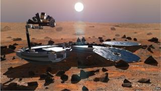 Artist's impression of Beagle on the surface of Mars