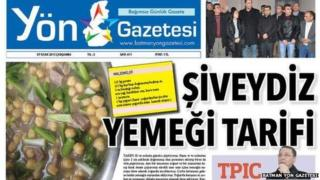 The front page of the newspaper showing a recipe
