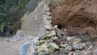 Broken section of wall at Fermain Bay, Guernsey, caused by storms in February 2013