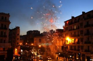 Fireworks over Algiers as supporters of President Abdelaziz Bouteflika celebrate his election victory, 18 April 2015