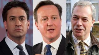 Ed Miliband, David Cameron, Nigel Farage