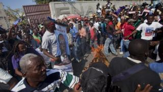 Demonstrators in Haiti