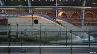 Eurostar trains at St Pancras on 17 January 2015