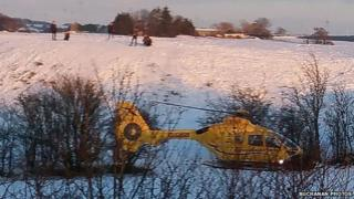 Air ambulance at sledging incident in Fenwick