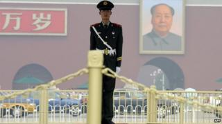 File image of Chinese soldier in Tiananmen Square on 4 August 2008