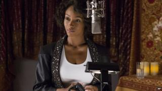Yaya DaCosta as Whitney Houston in the Lifetime biopic