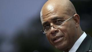 Haitian President Michel Martelly speaks during a speech to the nation at the National Palace in Port-au-Prince on 16 January, 2015.