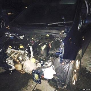 Vandalised car