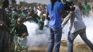 Pupils protesting at Lang'ata school