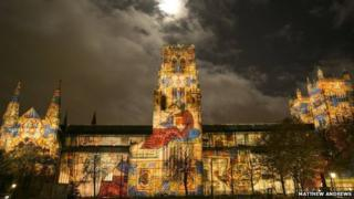 Durham Cathedral illuminated as part of Lumiere in 2013