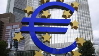 The euro sign outside of the European Central Bank in Frankfurt