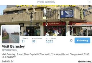 Spoof 'Visit Barnsley' twitter profile