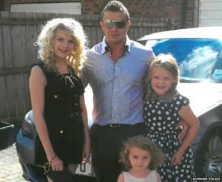 Darren Edwards with his daughters Chloe, Paige and Freya