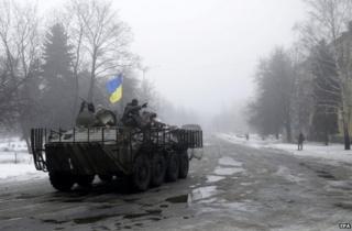 A Ukrainian armoured vehicle in Donetsk region, 20 January