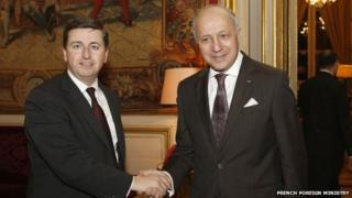 Douglas Alexander and French foreign minister Laurent Fabius