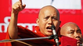 Ashin Wirathu at a rally against the UN in Yangon (16 Jan 2015)