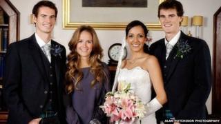 Jamie Murray marries Alejandra Gutierrez at his wedding at Cromlix House Hotel, Dunblane in 2010