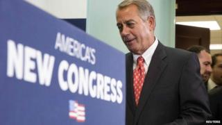 Speaker of the House John Boehner (R-OH) prepares to speak to the media after a conference meeting with House Republicans on Capitol Hill in Washington 21 January 2015