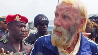 Robert Nitsch Eberhard, a German citizen abducted and held hostage by suspected Boko Haram militants, is seen as he arrives at the Yaounde Nsimalen International airport after his release in Yaounde, Cameroon, Wednesday 21 January 2015