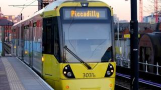 Metrolink tram travelling to Manchester Piccadilly