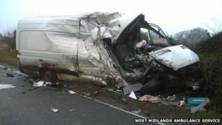 Crushed van in Wem
