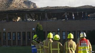 Firefighters at the South Oxfordshire District Council building