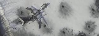 Destroyed plane at Donetsk airport