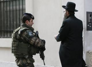 French soldier patrolling in a mainly Jewish area of Paris, 12 Jan 15
