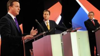 David Cameron, Nick Clegg and Gordon Brown during the 2010 general election debate broadcast by Sky News