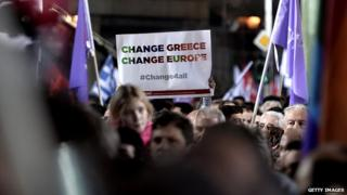 """Supporters of Syriza hold a banner saying """"Change Greece, Change Europe"""" at a pre-election rally in central Athens on 22 January 2015"""