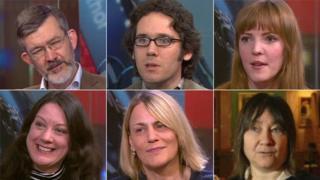 Clockwise from top left: Nick Higham, Jonathan Edwards, Emma Healey, Ali Smith, Kate Saunders, Helen Macdonald