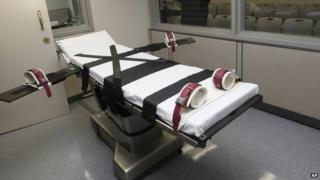 The gurney in the the execution chamber at the Oklahoma State Penitentiary is pictured in McAlester, Oklahoma 9 October 2014