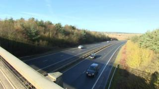 View of A47 near Norwich from B1108 flyover