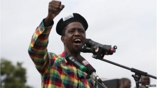 Patriotic Front (PF) Presidential candidate Edgar Lungu speaks at a rally in Lusaka on 19 January 2015