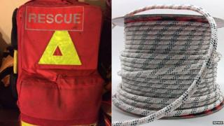 Mountain Rescue emergency bag and rope