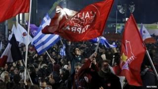 Syriza party supporters celebrating
