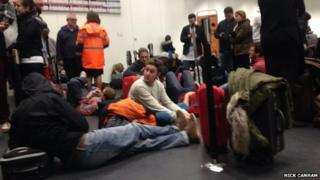 Diverted Easyjet passengers at Amsterdam's Schiphol airport