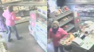 CCTV of Samantha Henderson in The Sweet Shop, Corfe Castle, on 21 January