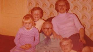 Mary McWilliams, centre, on her 80th birthday, with Elizabeth Hanna, far right, and her three children Elaine, David and Frankie