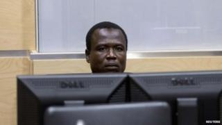 Dominic Ongwen, a commander of the Ugandan Lord's Resistance Army (LRA), waits for the start of court procedures at the International Criminal Court in The Hague (26 January 2015)