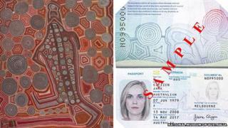 A detail from Yumari 'Yumari', Uta Uta Tjangala (c. 1926-1990) and an Australian passport