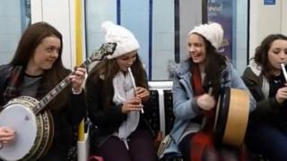 The young musicians from County Armagh performed while travelling on the London Underground at the weekend